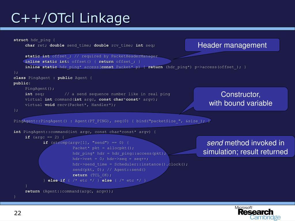 C++/OTcl Linkage