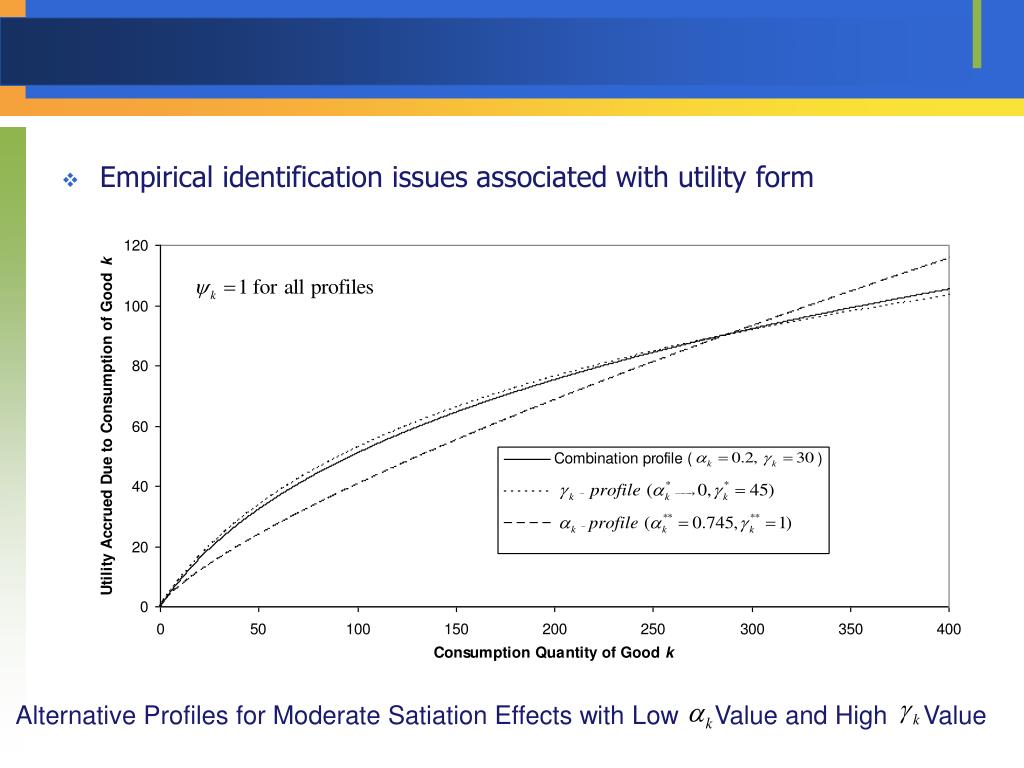 Empirical identification issues associated with utility form