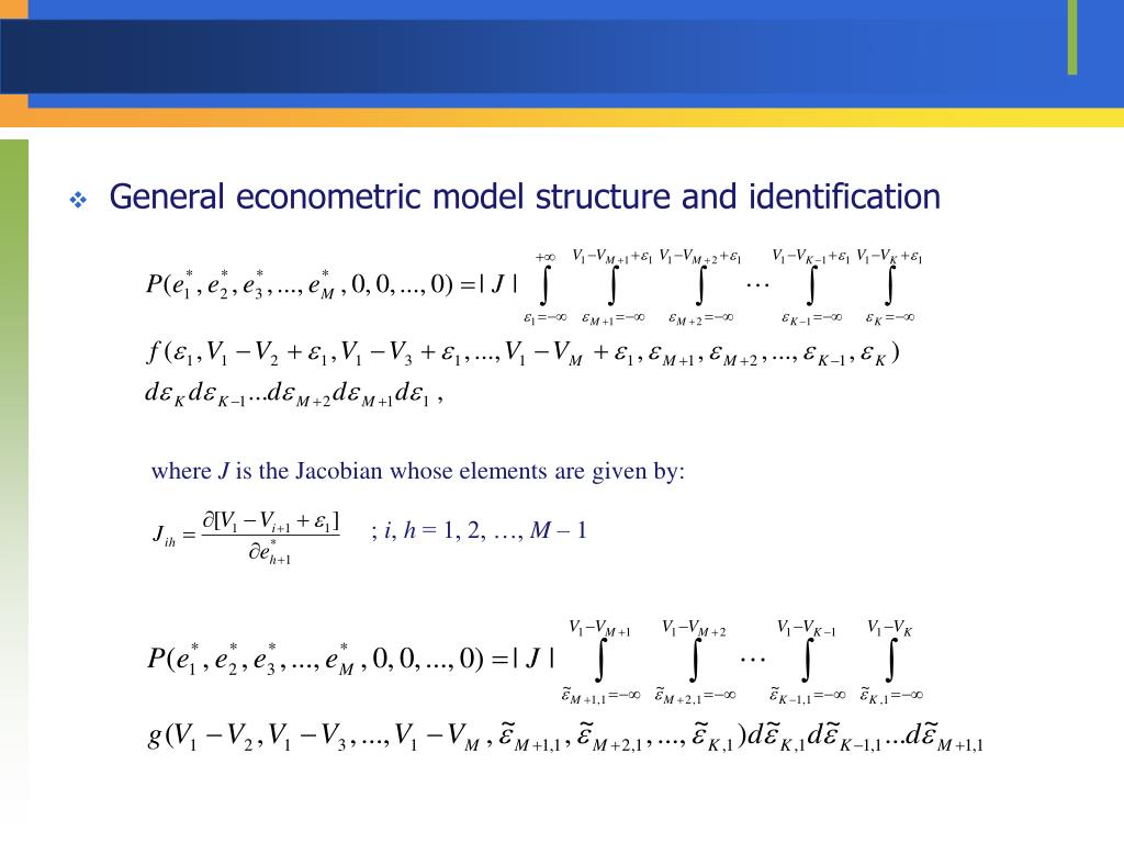 General econometric model structure and identification