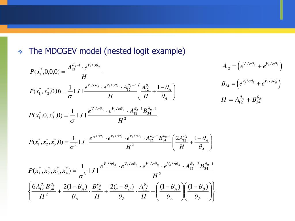 The MDCGEV model (nested logit example)