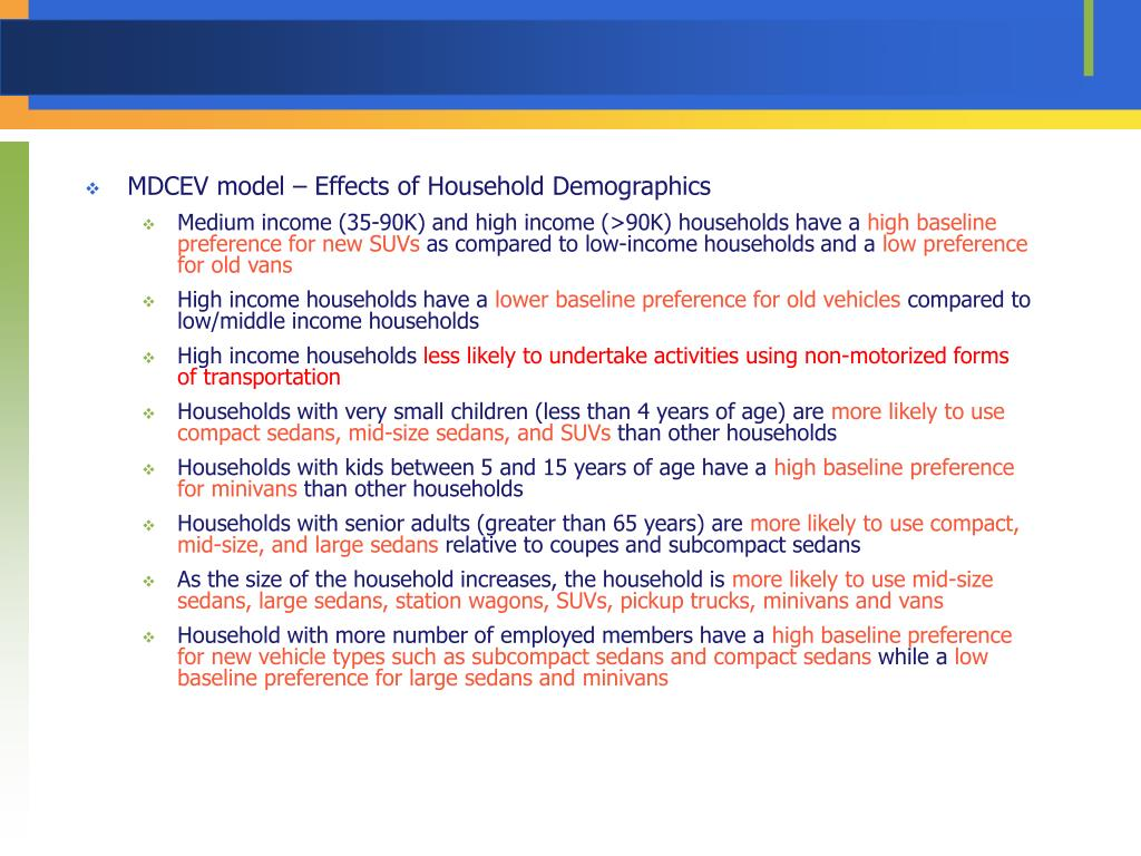MDCEV model – Effects of Household Demographics