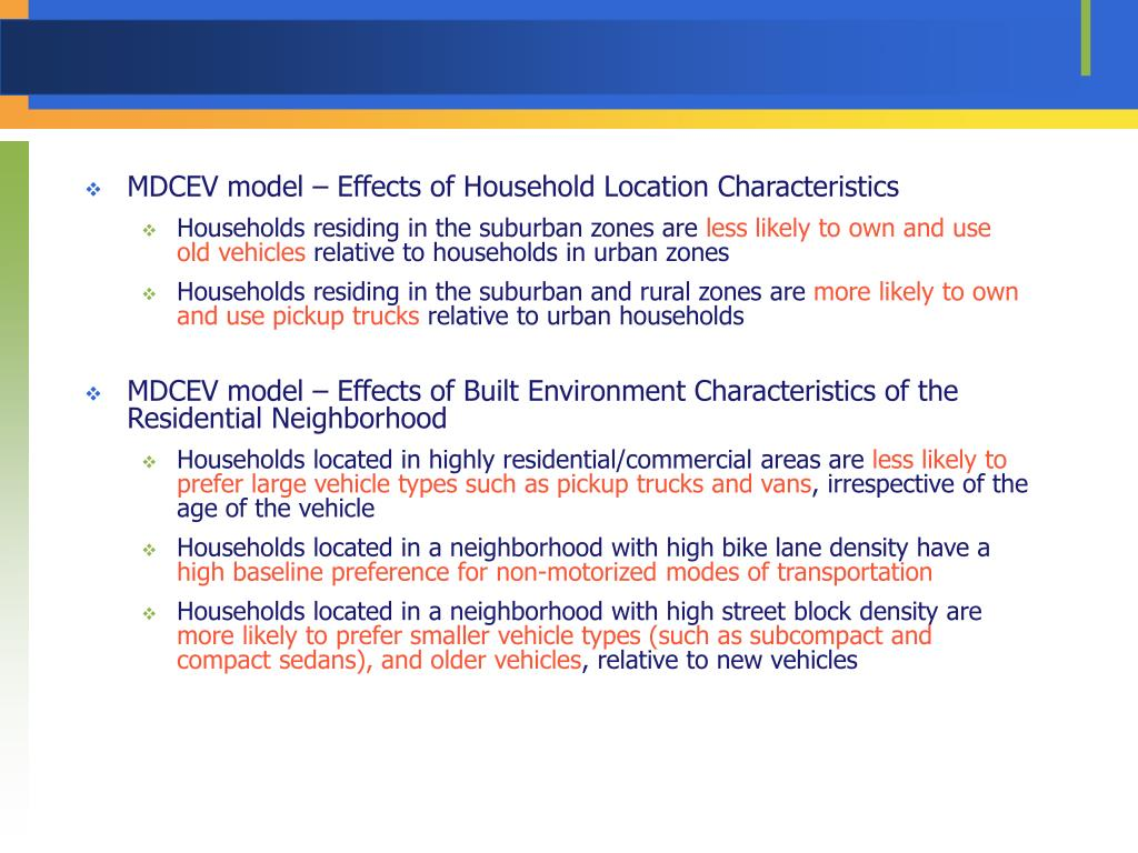 MDCEV model – Effects of Household Location Characteristics