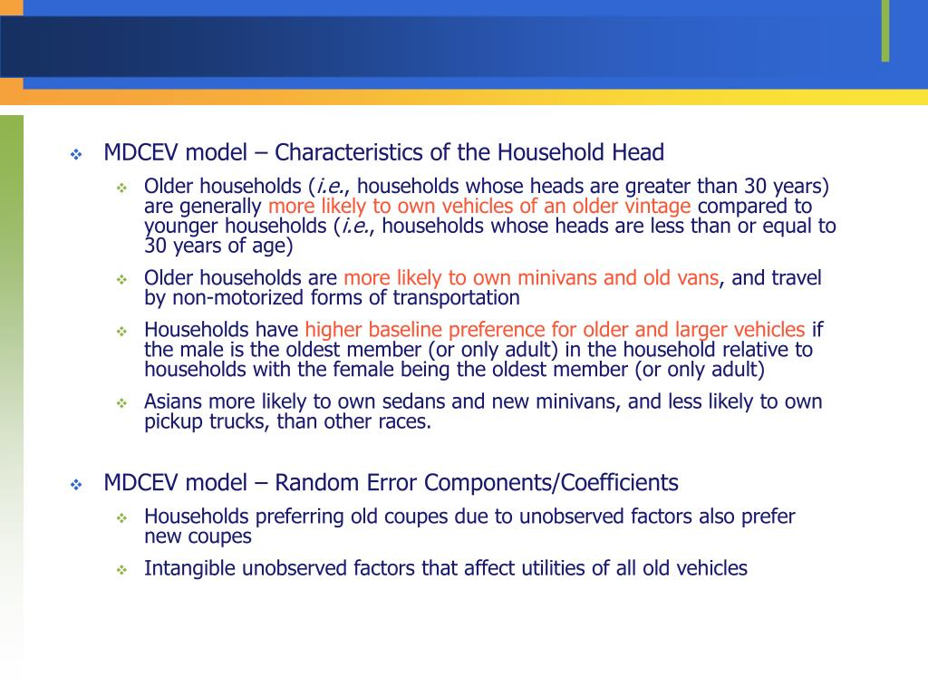 MDCEV model – Characteristics of the Household Head