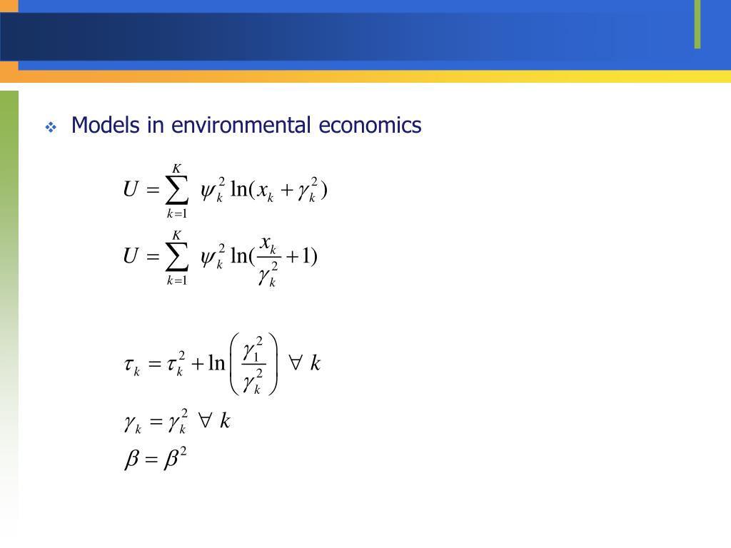 Models in environmental economics