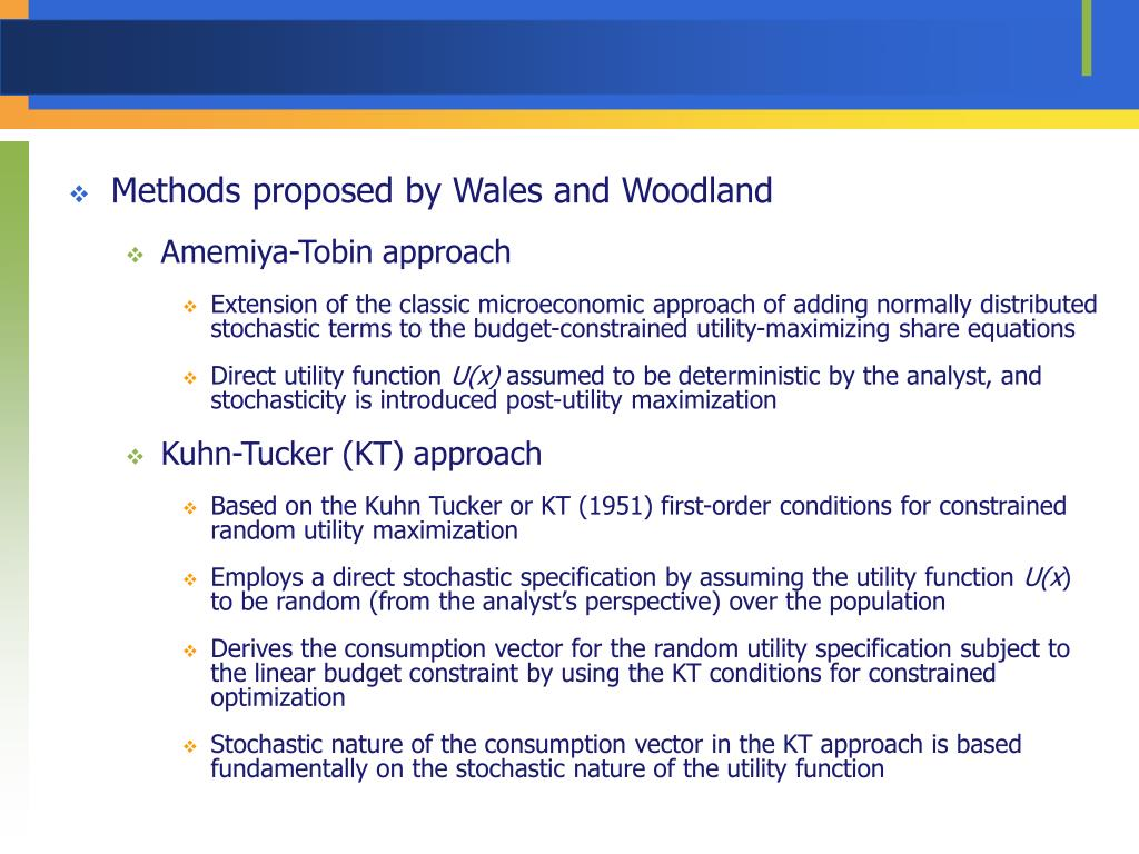 Methods proposed by Wales and Woodland