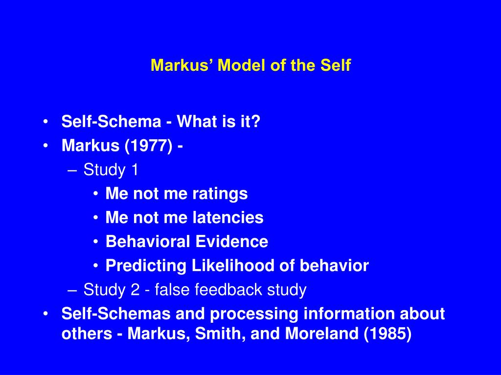 markus model of the self