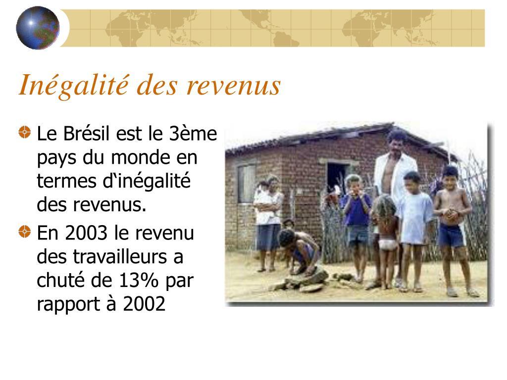 Le Brésil est le 3ème pays du monde en termes d'inégalité des revenus.