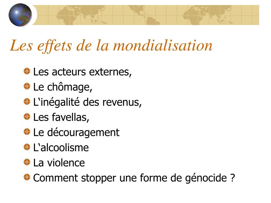 Les effets de la mondialisation