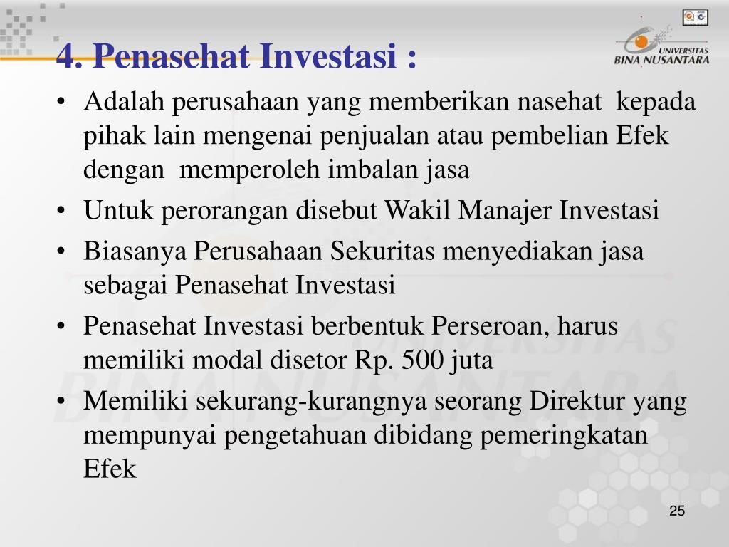 4. Penasehat Investasi :