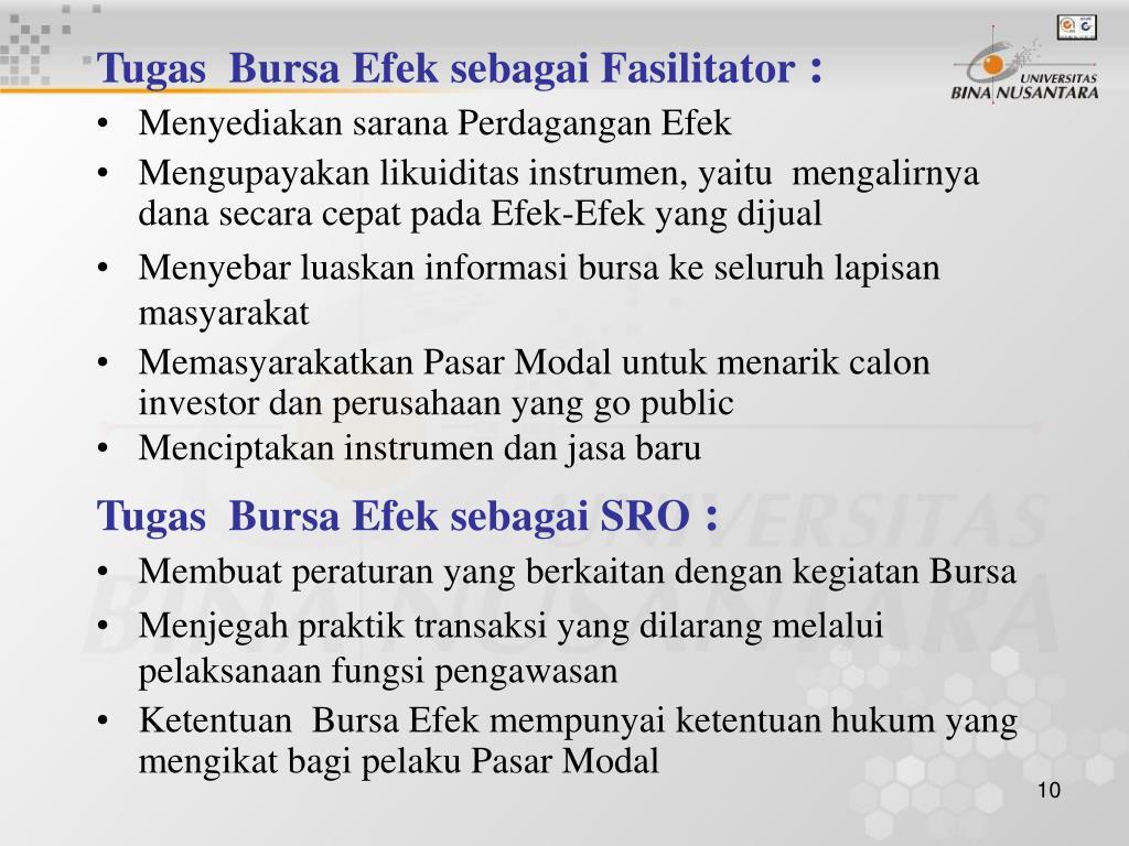 Tugas  Bursa Efek sebagai Fasilitator