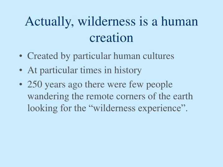 Actually, wilderness is a human creation