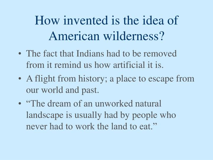 How invented is the idea of American wilderness?