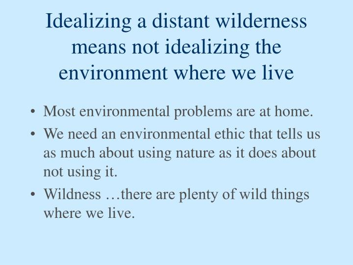 Idealizing a distant wilderness means not idealizing the environment where we live