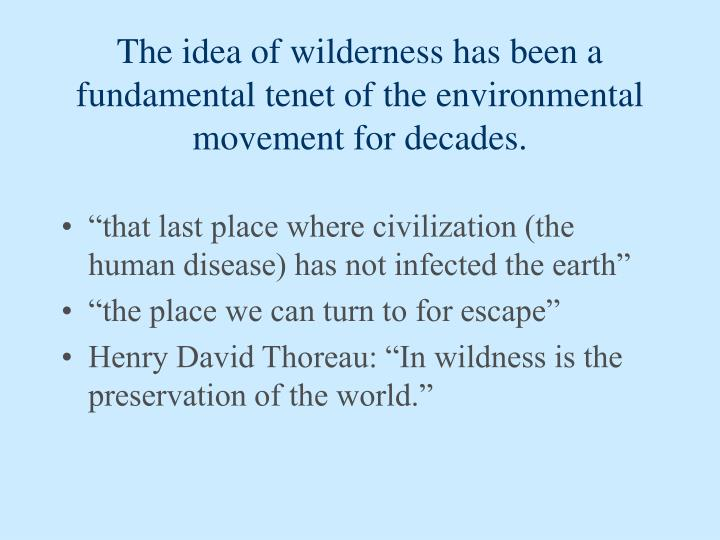 The idea of wilderness has been a fundamental tenet of the environmental movement for decades.