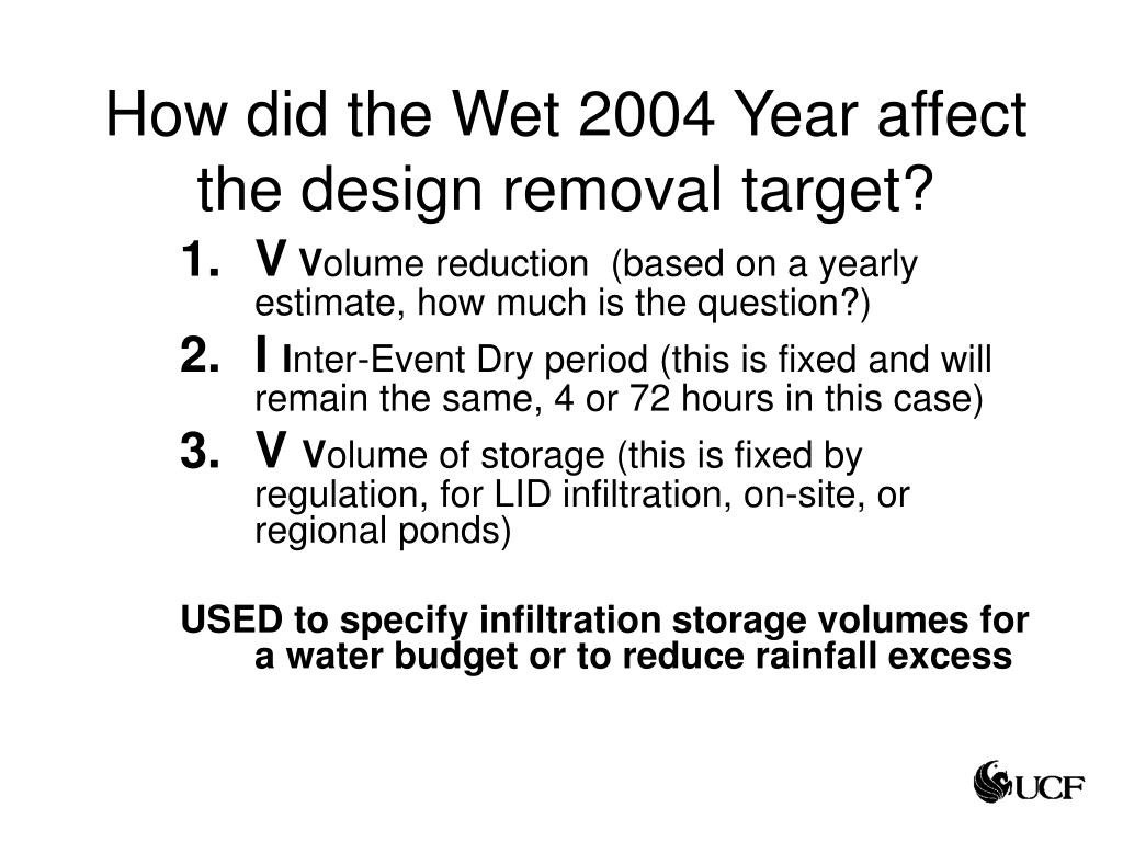 How did the Wet 2004 Year affect the design removal target?