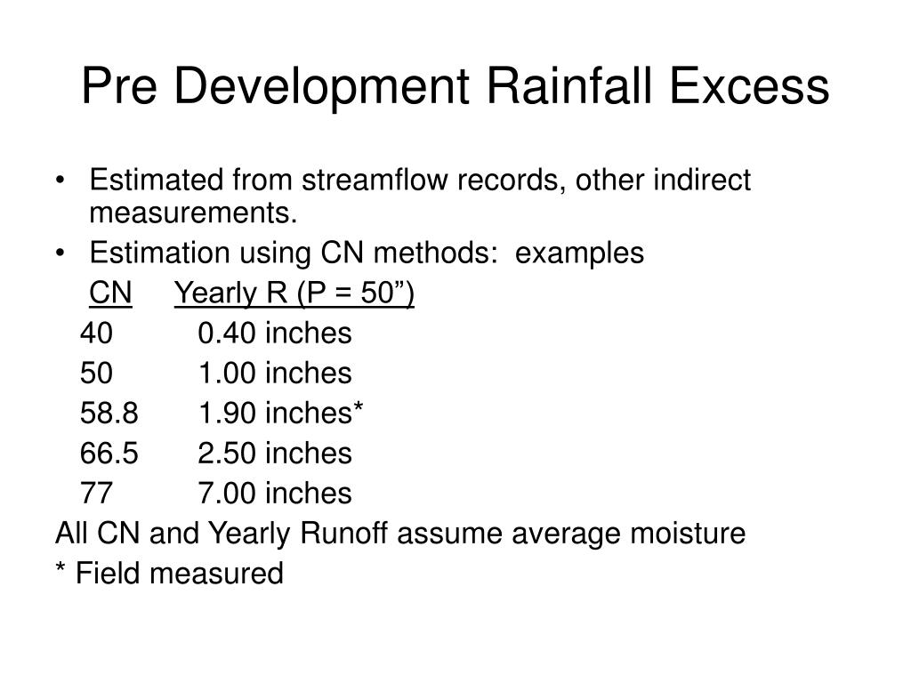 Pre Development Rainfall Excess