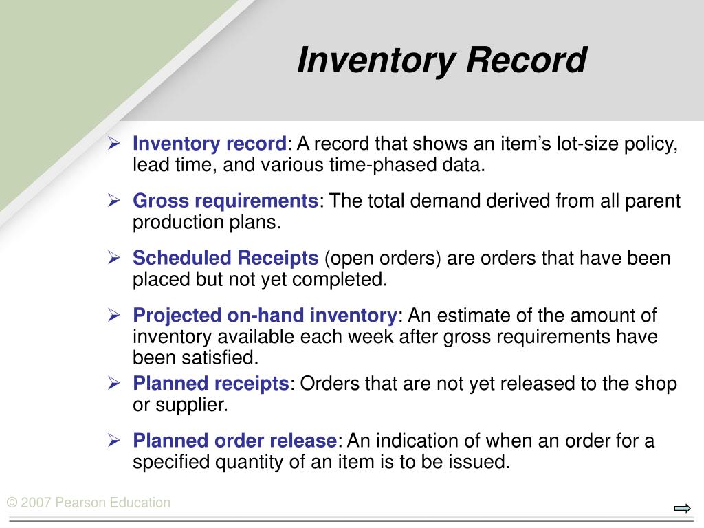 Inventory Record