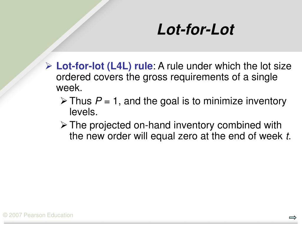Lot-for-Lot
