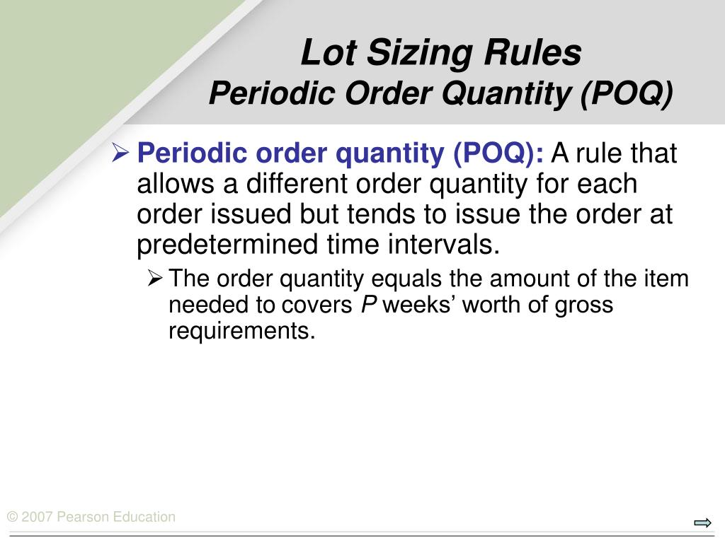 Lot Sizing Rules