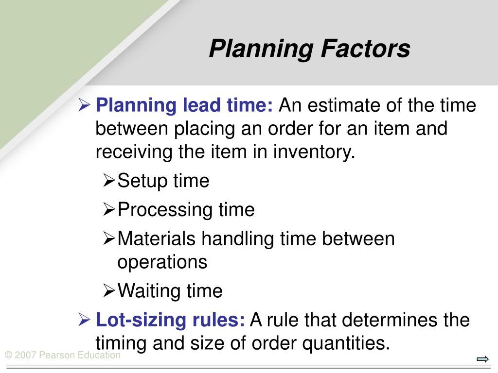 Planning Factors