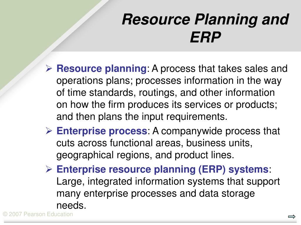 Resource Planning and ERP