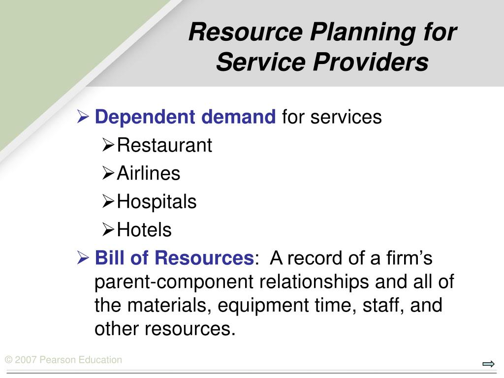 Resource Planning for Service Providers