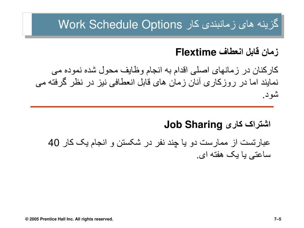 گزینه های زمانبندی کار