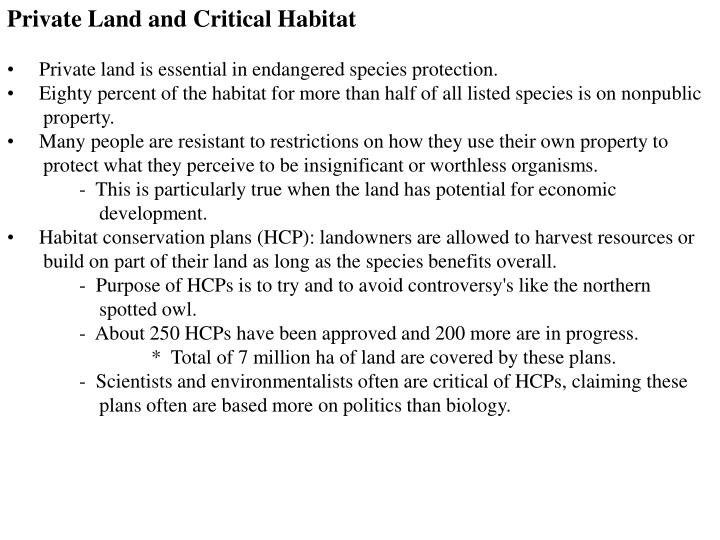 Private Land and Critical Habitat