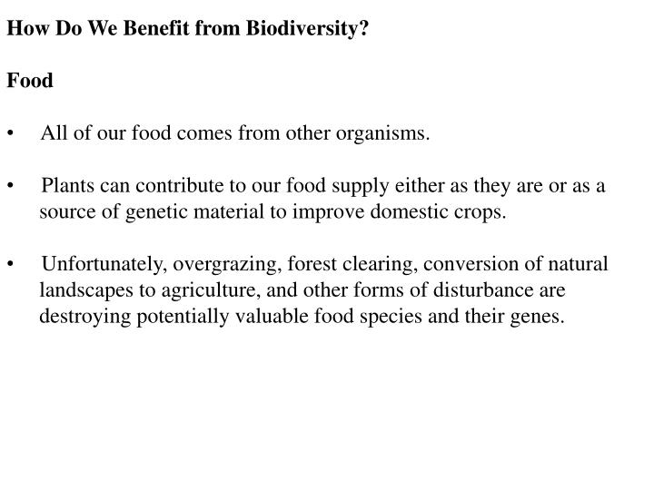 How Do We Benefit from Biodiversity?