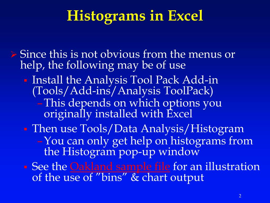 Histograms in Excel