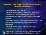 goals of the core health data country profile initiative