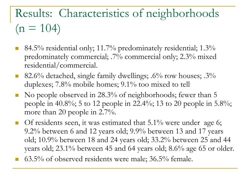 Results:  Characteristics of neighborhoods