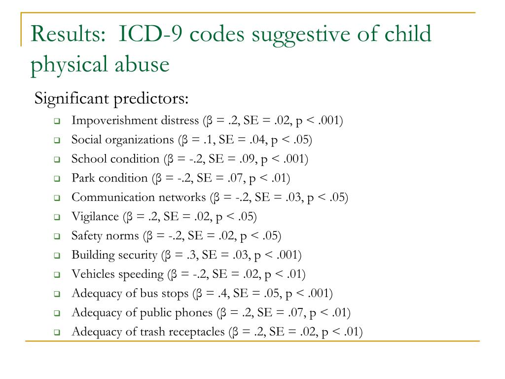 Results:  ICD-9 codes suggestive of child physical abuse