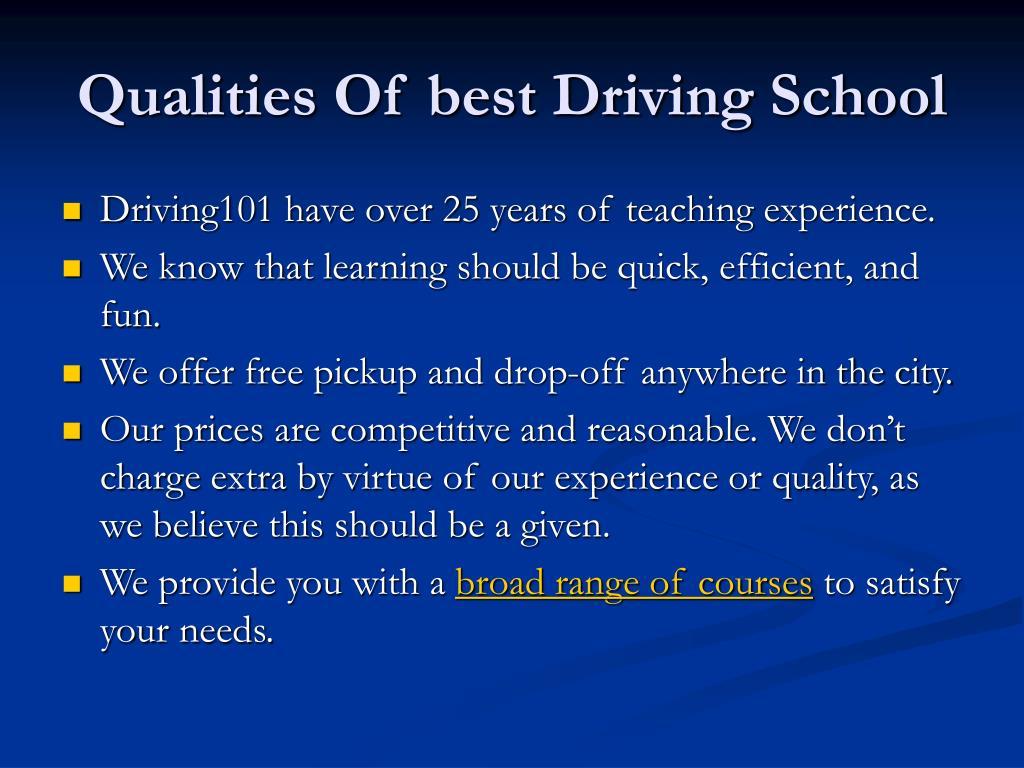 Qualities Of best Driving School