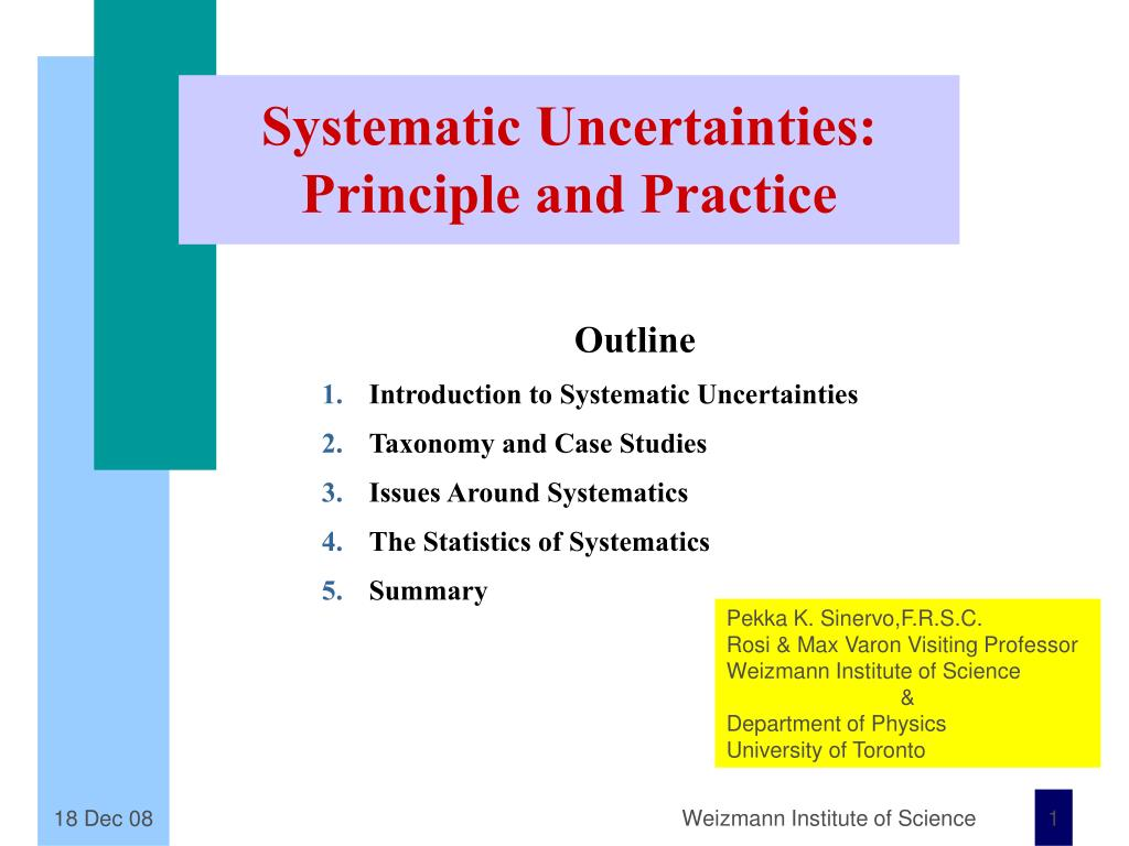 systematic uncertainties principle and practice
