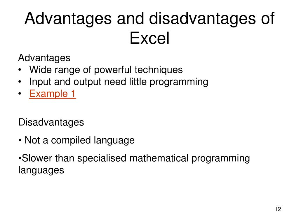 Advantages and disadvantages of Excel