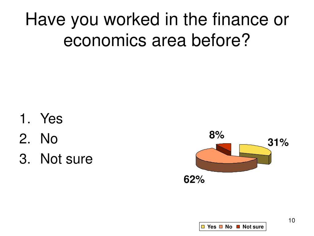 Have you worked in the finance or economics area before?