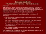 technical notebook next generation networks standards overview