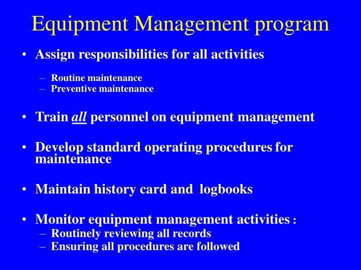 Equipment Management program