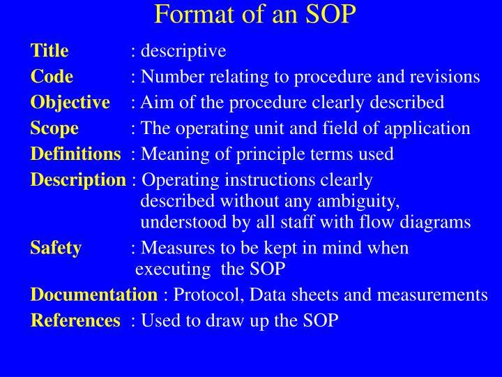 Format of an SOP