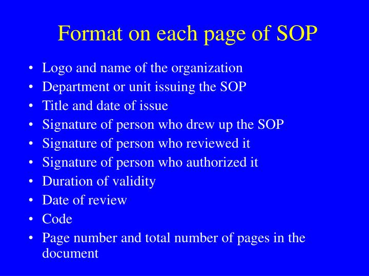 Format on each page of SOP