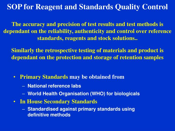 SOP for Reagent and Standards Quality Control