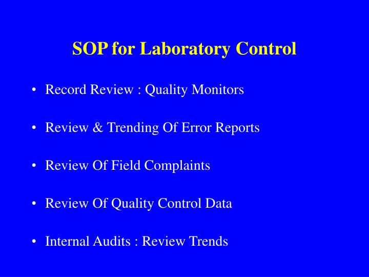 SOP for Laboratory Control