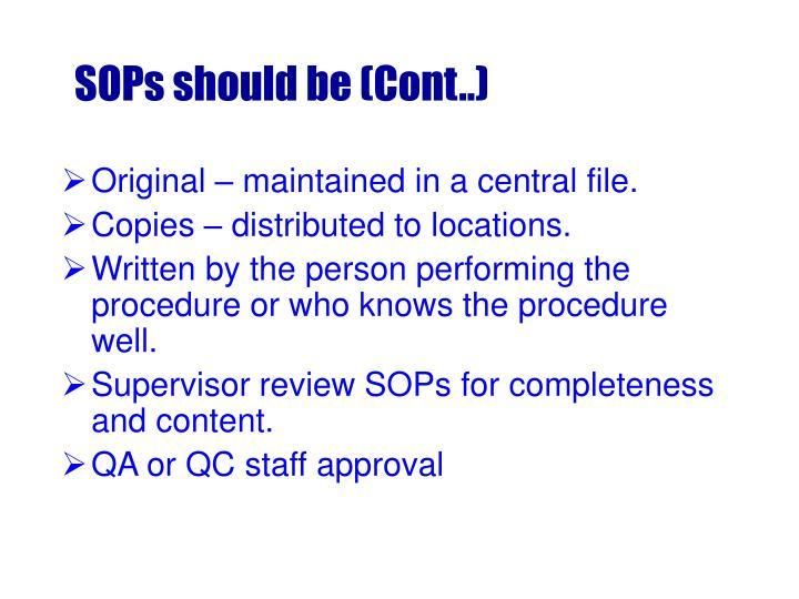 SOPs should be (Cont..)