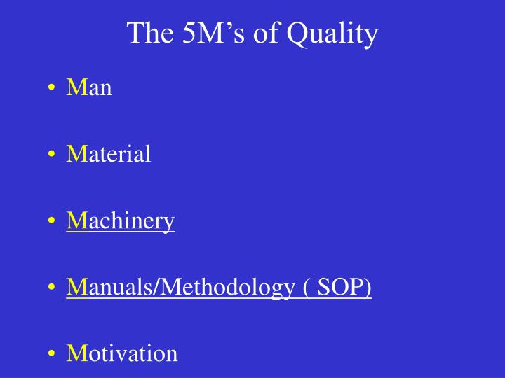The 5M's of Quality