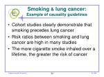 smoking lung cancer example of causality guidelines