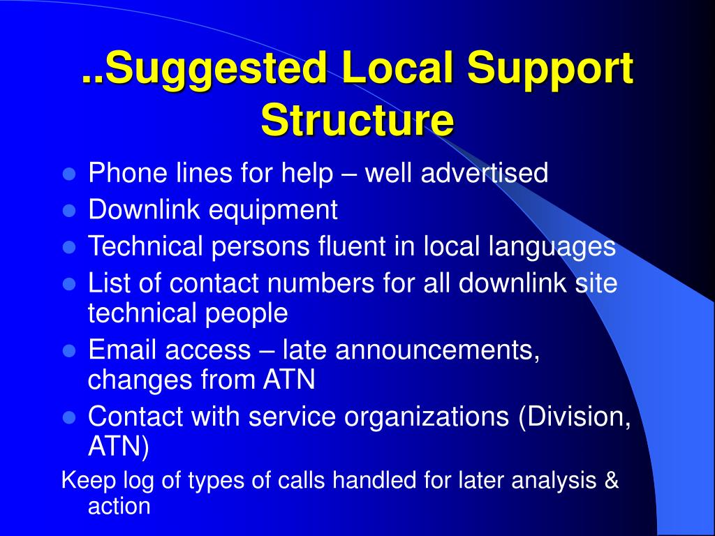 ..Suggested Local Support Structure