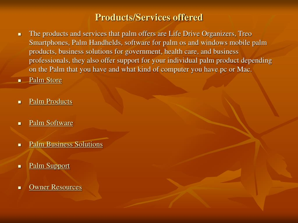 Products/Services offered