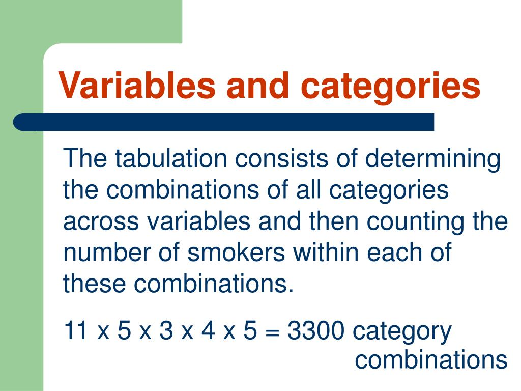 Variables and categories