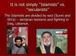 it is not simply islamists vs secularists